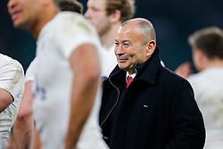 England Head Coach Eddie Jones is all smiles after England hang on to win the match 25-21 to lift the Triple Crown having beaten Scotland, Ireland and Wales in the 6 Nations - Mandatory byline: Rogan Thomson/JMP - 12/03/2016 - RUGBY UNION - Twickenham Stadium - London, England - England v Wales - RBS 6 Nations 2016.