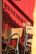 Cafe with chairs on city street, Santiago, Chile