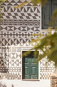 Close up of house decorated with traditional patterns, Pyrgi, Chios, Greece
