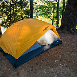 A tent in the campground in New Hampshire's Pawtuckaway State Park.