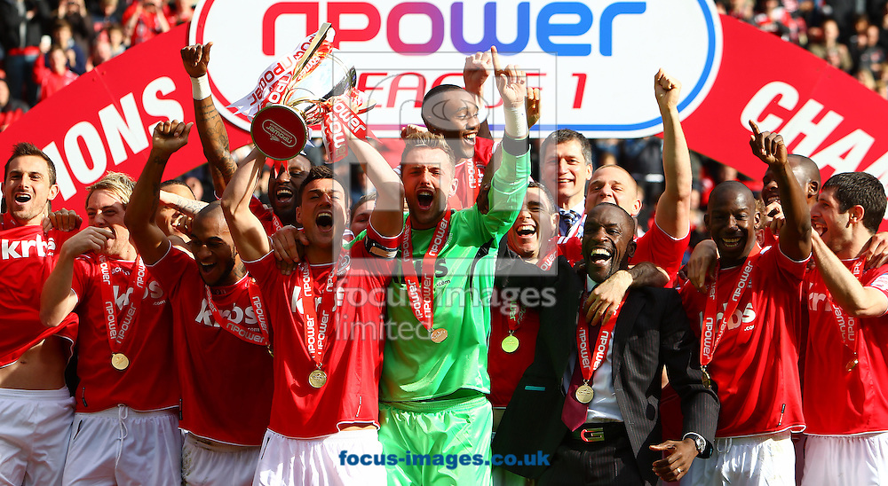 Picture by John Rainford/Focus Images Ltd. 07506 538356.05/05/12.Npower League 1 champions Charlton Athletic celebrate at The Valley stadium, London.