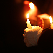 Locals mourn at a townwide community candlelight  vigil on Sherman Green. Fairfield, Connecticut after the mass shootings at Sandy Hook Elementary School, Newtown, Connecticut, USA. 17th December 2012. Photo Tim Clayton