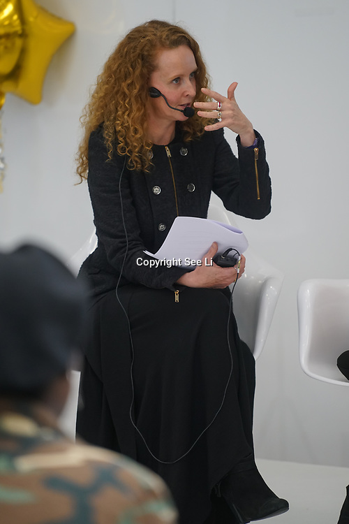 Olympia London, London, England, UK. Naomi Scroggins presenter of the talk show 'How to Get Noticed' at The Olympia Beauty show at Kensington Olympia in London on 1st October 2017.