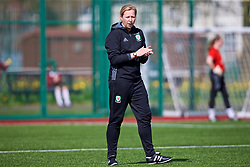 YSTRAD MYNACH, WALES - Wednesday, April 5, 2017: Wales' manager Jayne Ludlow during the pre-match warm-up before the Women's International Friendly match against Northern Ireland at Ystrad Mynach. (Pic by Laura Malkin/Propaganda)