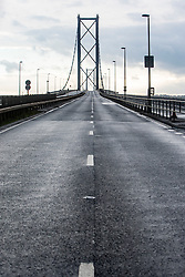 Pics of the closed Forth Road Bridge from the north, Fife side at North Queensferry. Pic of the north bound road side.
