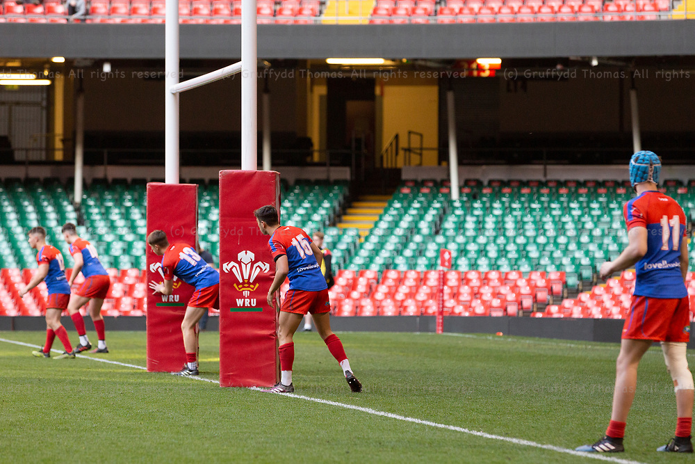 Principality Stadium, Cardiff, Wales, UK. Wednesday 1 May 2019. Coleg Sir Gâr and Aberdare Community School compete in the Welsh Schools Rugby Union Under 18 Cup Final