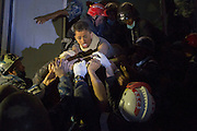 KATMANDU, NEPAL - APRIL 29: (CHINA OUT)<br /> <br />  Nepal Earthquake, 20-year-old man saved by rescue workers from a collapsed building<br /> <br />  A 20-year-old man gets saved by rescue workers from a collapsed building on April 29, 2015 in Katmandu, Nepal. A major 7.8 earthquake hit Kathmandu mid-day on Saturday, and was followed by multiple aftershocks that triggered avalanches on Mt. Everest that buried mountain climbers in their base camps. Many houses, buildings and temples in the capital were destroyed during the earthquake, leaving over 4600 dead and many more trapped under the debris as emergency rescue workers attempt to clear debris and find survivors. Regular aftershocks have hampered recovery missions as locals, officials and aid workers attempt to recover bodies from the rubble. <br /> ©Exclusivepix Media