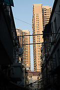 Old hutong and new bnuildings, Shanghai, China