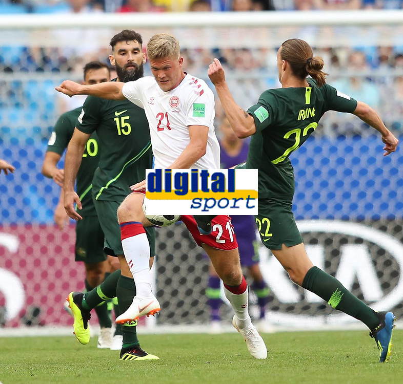 (180621) -- SAMARA, June 21, 2018 -- Jackson Irvine (1st R) of Australia vies with Andreas Cornelius (2nd R) of Denmark during the 2018 FIFA World Cup WM Weltmeisterschaft Fussball Group C match between Denmark and Australia in Samara, Russia, June 21, 2018. The match ended in a 1-1 draw. ) (SP)RUSSIA-SAMARA-2018 WORLD CUP-GROUP C-DENMARK VS AUSTRALIA YexPingfan PUBLICATIONxNOTxINxCHN