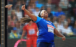 USA's Gia Lewis-Smallwood competes in the Women's Discus Throw Qualifying during day eight of the 2017 IAAF World Championships at the London Stadium