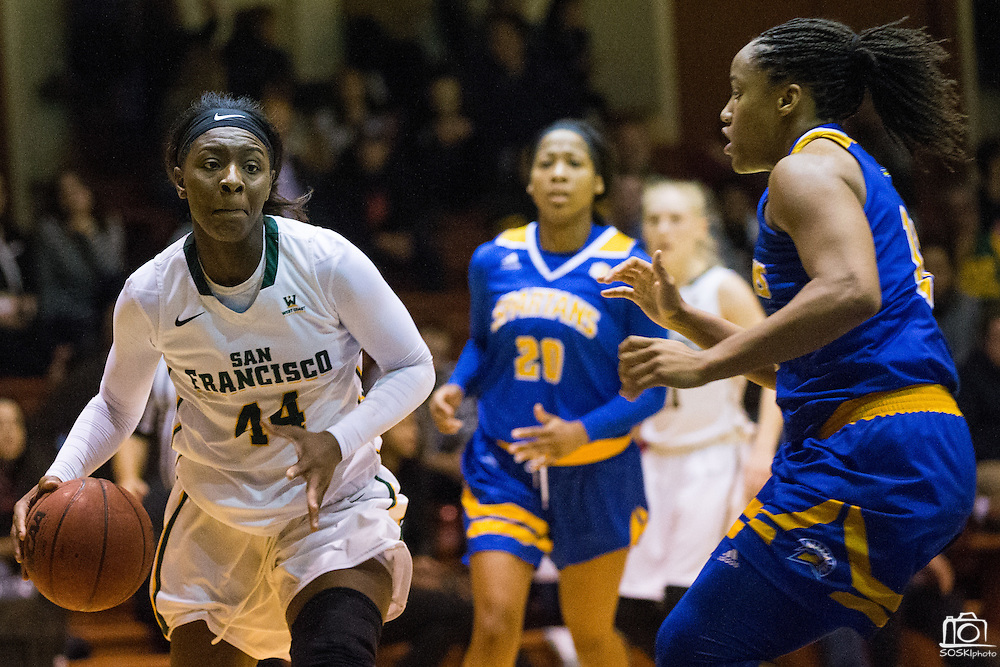 San Francisco Lady Dons forward Hashima Carothers (44) takes the ball to the basket against the San Jose State Spartans at Kezar Pavilion in San Francisco, Calif., on December 6, 2016. (Stan Olszewski/Special to S.F. Examiner)