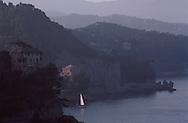 Sailboat near Mountains