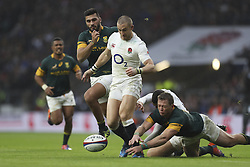 November 12, 2016 - London, England, United Kingdom - Mike Brown pounces on a loose ball after Ruan Combinck of South Africa mishandles it after a tackle from Jonny May of England during Old Mutual Wealth Series between England  and South Africa played at Twickenham Stadium, London, November 12th  2016  (Credit Image: © Kieran Galvin/NurPhoto via ZUMA Press)
