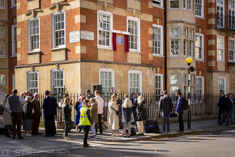 Diana, Princess of Wales has today been honoured with an English Heritage London blue plaque. Unveiled by Diana's former flatmate Virginia Clarke, the plaque marks Coleherne Court on the Old Brompton Road, where Diana lived at Flat 60 at the time of her engagement to the Prince of Wales in 1981. Diana described her time at Coleherne Court as one of the happiest of her life and it was from this flat that she took her first steps onto the world stage. The princess, who would have turned 60 this year, used her huge, international profile to speak out on humanitarian issues and raise awareness of charitable causes.<br /> Picture date Wednesday 29th September, 2021.<br /> Picture by Christopher Ison. Contact +447544 044177 chris@christopherison.com