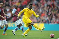 Mario Balotelli of Liverpool shoots for goal but just misses. The FA Cup, semi final match, Aston Villa v Liverpool at Wembley Stadium in London on Sunday 19th April 2015.<br /> pic by John Patrick Fletcher, Andrew Orchard sports photography.