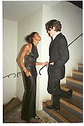 Naomi Campbell and Hugh Grant. Miramax post Bafta's party. Noble Rot. 9 April 2000. © Copyright Photograph by Dafydd Jones 66 Stockwell Park Rd. London SW9 0DA Tel 020 7733 0108 www.dafjones.com