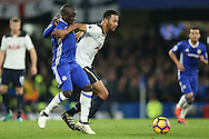 Mousa Dembele of Tottenham Hotspur blocks the ball from Ngolo Kante of Chelsea. Premier league match, Chelsea v Tottenham Hotspur at Stamford Bridge in London on Saturday 26th November 2016.<br /> pic by John Patrick Fletcher, Andrew Orchard sports photography.
