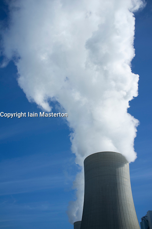 Cooling tower at Neurath brown coal fired power station in North Rhine Westphalia in Germany