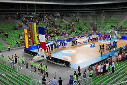 Flags of third placed Spain, winning team of Lithuania and second placed France during Trophy ceremony after the basketball match between National teams of Lithuania and France in final match of U20 Men European Championship Slovenia 2012, on July 22, 2012 in SRC Stozice, Ljubljana, Slovenia. Lithuania defeated France 50-49 and became European Champion 2012. (Photo by Vid Ponikvar / Sportida.com)