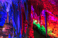 Stalactites and stalagmites inside a cave