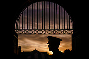Deputy Regimental Commander Grayson Gasque looks on inside the Padgett-Thomas Barracks sallyport during Matriculation Day for the Class of 2025 at The Citadel in Charleston, South Carolina on Saturday, August 14, 2021.<br /> <br /> Credit: Cameron Pollack / The Citadel