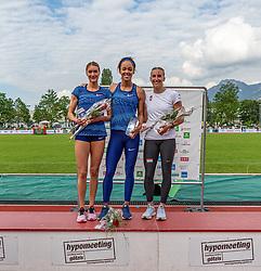 26.05.2018, Moeslestadion, Götzis, AUT, 45. Hypo Meeting Goetzis, Siebenkampf Damen, im Bild v.l. Platz 2 Laura Ikauniece (LAT), Platz 1 Katarina Johnson Thompson (GBR) und Xenia Krizsan (HUN) Platz 3 während der Siegerehrung // f.l. 2nd placed Laura Ikauniece of Latvia Katerina winner Johnson Thompson of United Kingdom third placed Xenia Krizsan of Hungary during the Winner Award Ceremony of the 45th Hypo Athletics Meeting at the Moeslestadion in Götzis, Austria on 2018/05/26. EXPA Pictures © 2019, PhotoCredit: EXPA/ Peter Rinderer