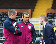 Stephen Clemence and Colin Calderwood of Aston Villa before the Sky Bet Championship match at Craven Cottage, London<br /> Picture by Richard Brooks/Focus Images Ltd 07947656233<br /> 17/04/2017