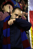 Photo: Paul Thomas.<br /> Liverpool v Barcelona. UEFA Champions League. Last 16, 2nd Leg. 06/03/2007.<br /> <br /> Dejected Barcelona fan.