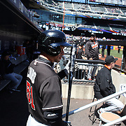 NEW YORK, NEW YORK - APRIL 13: Ichiro Suzuki, Miami Marlins, in the dugout preparing to bat during the Miami Marlins Vs New York Mets MLB regular season ball game at Citi Field on April 13, 2016 in New York City. (Photo by Tim Clayton/Corbis via Getty Images)
