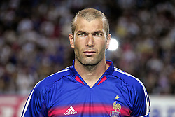 French midfielder Zinedine Zidane, who returns to play for France a year after announcing his international retirement, during the friendly soccer match France vs Ivory Coast, at the Mosson Stadium in Montpellier, southern France, on August 17, 2005. France won 3-0. Photo by Patrick Bernard/CAMELEON/ABACAPRESS.COM.  Equipe de France de Football French Soccer Team Ivory Coast Team Zidane Zinedine Activite sportive Sport Activity Chauve Calvitie Bald Football Foot Soccer Seule Seul Seuls Seules Alone France Frankreich Languedoc-Roussillon Montpellier Headshot Portraits Portrait Headshots Head Shot Head Shots  | 82570_13 Montpellier France