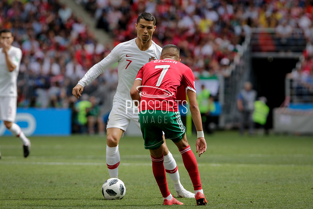 Cristiano Ronaldo of Portugal and Hakim Ziyach of Morocco during the 2018 FIFA World Cup Russia, Group B football match between Portugal and Morocco on June 20, 2018 at Luzhniki stadium in Moscow, Russia - Photo Thiago Bernardes / FramePhoto / ProSportsImages / DPPI