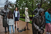 Dana Kings Guided By Justice statue, dedicated to black women who sustained the Montgomery Bus Boycott and collectively walked thousands of miles, stands inside The National Memorial For Peace And Justice in Montgomery, Alabama on 3rd March 2020 in Montgomery, Alabama, United States. The national memorial  commemorate the victims of lynching in the United States. Current research shows that 4,084 African Americans were lynched between 1877 and 1950. More than 85% of the lynchings took place in the Southern states.