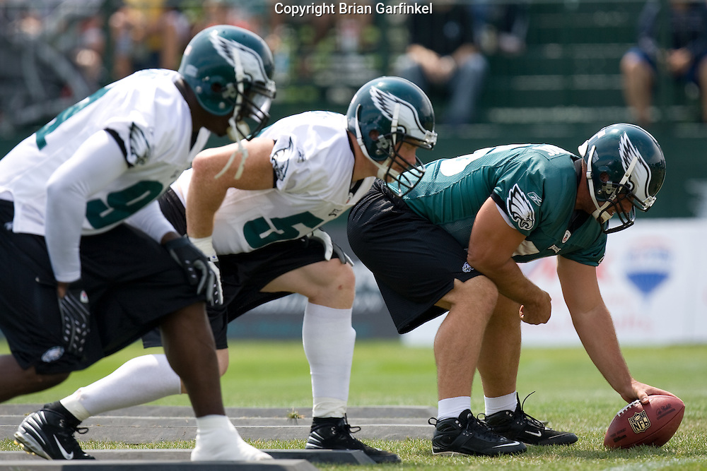 Bethlehem, PA - August 2nd 2008 -Long Snapper Jon Dorenbos lines up on the line of scrimmage before a play during the Philadelphia Eagles Training Camp at Lehigh University