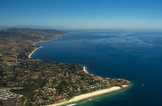 Aerial view of Point Dume in Malibu, California, looking east.