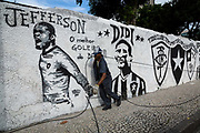 Outside the grounds of Botafogo club, Rio de Janeiro graffiti covered walls depict some of the greatest stars to come out of the club's history, such as Garrincha, Jairzinho, Jefferson, Nilton Santos and Didi, most of whom went on to represent Brazil's national winning Wolrd Cup teams.