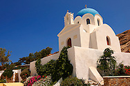 Blue domed Byzantine Greek Orthodox Church, Ios Chora, Cyclades Islands, Greece. .<br /> <br /> Visit our GREEK HISTORIC PLACES PHOTO COLLECTIONS for more photos to download or buy as wall art prints https://funkystock.photoshelter.com/gallery-collection/Pictures-Images-of-Greece-Photos-of-Greek-Historic-Landmark-Sites/C0000w6e8OkknEb8