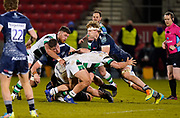 Sale Sharks No.8 Dan Du Preez is tackled during a Gallagher Premiership Round 12 Rugby Union match, Friday, Mar 05, 2021, in Eccles, United Kingdom. (Steve Flynn/Image of Sport)