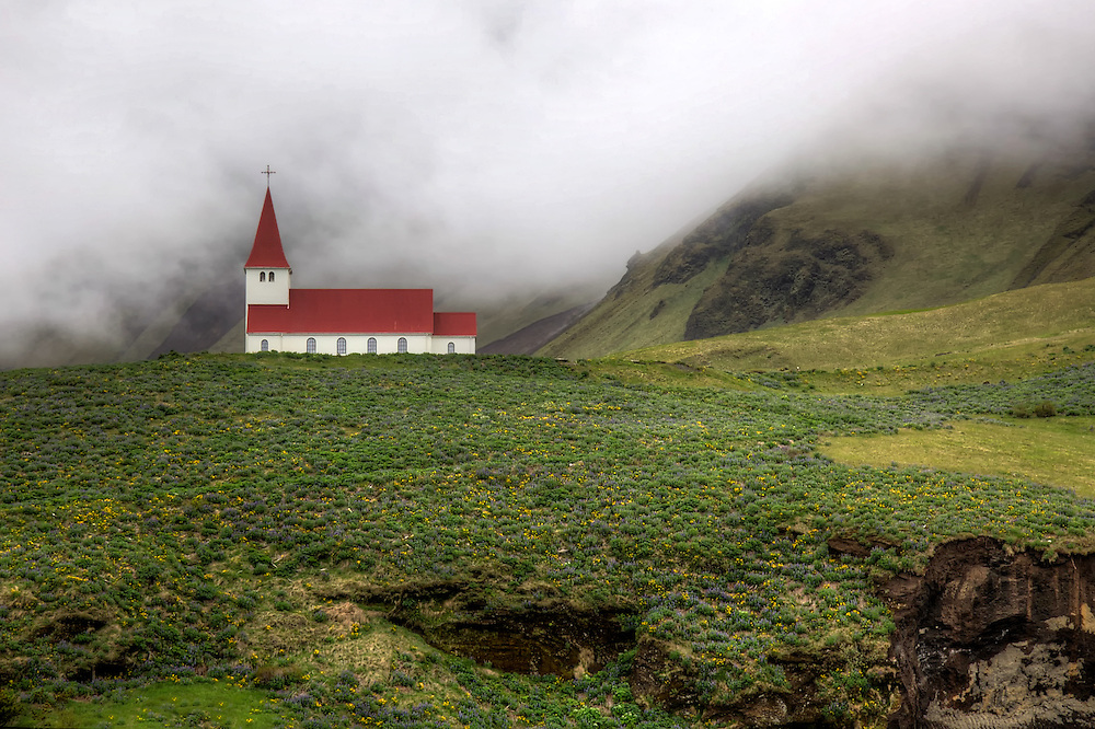 The church at Vík, the southernmost village in Iceland, sits high on a hill overlooking the town.