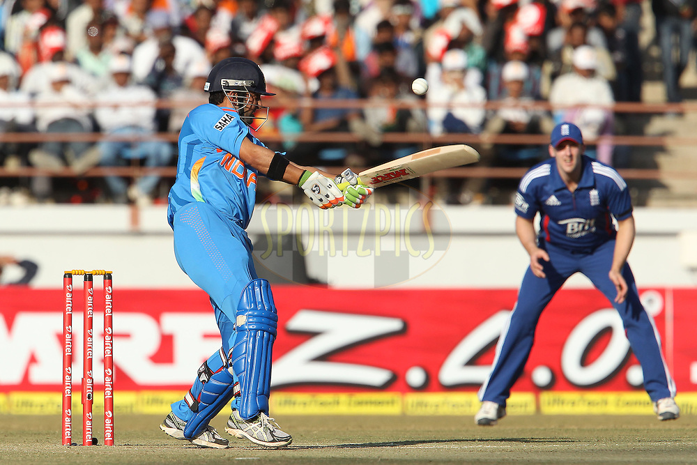 Gautam Gambhir of India edges the ball towards James Tredwell of England during the 1st Airtel ODI Match between India and England held at the SAURASHTRA CRICKET ASSOCIATION STADIUM, RAJKOT, India on the 11th January 2013..Photo by Ron Gaunt/BCCI/SPORTZPICS ..Use of this image is subject to the terms and conditions as outlined by the BCCI. These terms can be found by following this link:..http://www.sportzpics.co.za/image/I0000SoRagM2cIEc