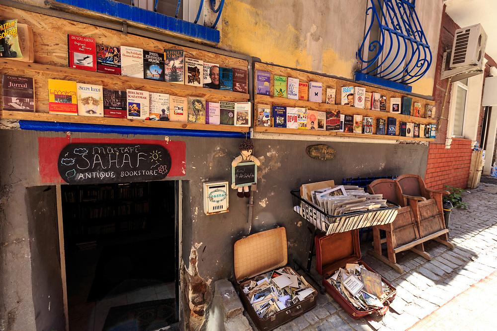 A bookshop in Beyoğlu Çukurcuma in Istanbul, Turkey. Çukurcuma is a favorite antique-hunting area in Istanbul.