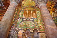 .<br /> <br /> Visit our BYZANTINE MOSAIC PHOTO COLLECTION for more   photos  to download or buy as prints https://funkystock.photoshelter.com/gallery/Byzantine-Eastern-Roman-Style-Mosaics-Pictures-Images/G0000NvKCna.AoH4/3/C0000YpKXiAHnG2k<br /> If you prefer to buy from our ALAMY PHOTO LIBRARY  Collection visit : https://www.alamy.com/portfolio/paul-williams-funkystock/basilica-san-vitale-ravenna.html