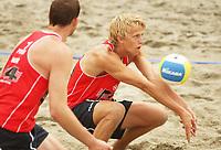 Volleyball Sandvolleyball Beachvolleyball<br />Swatch FIVB World Tour Conoco Phillips Grand Slam<br />Stavanger 260608<br />Foto: Sigbjørn Andreas Hofsmo, Digitalsport<br /><br />Martin Spinnanger - Øivind Hordvik