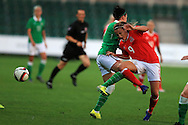 Kayleigh Green of Wales (9) is fouled by Sophie Perry of Rep of Ireland. Friendly International Womens football, Wales Women v Republic of Ireland Women at Rodney Parade in Newport, South Wales on Friday 19th August 2016.<br /> pic by Andrew Orchard, Andrew Orchard sports photography.