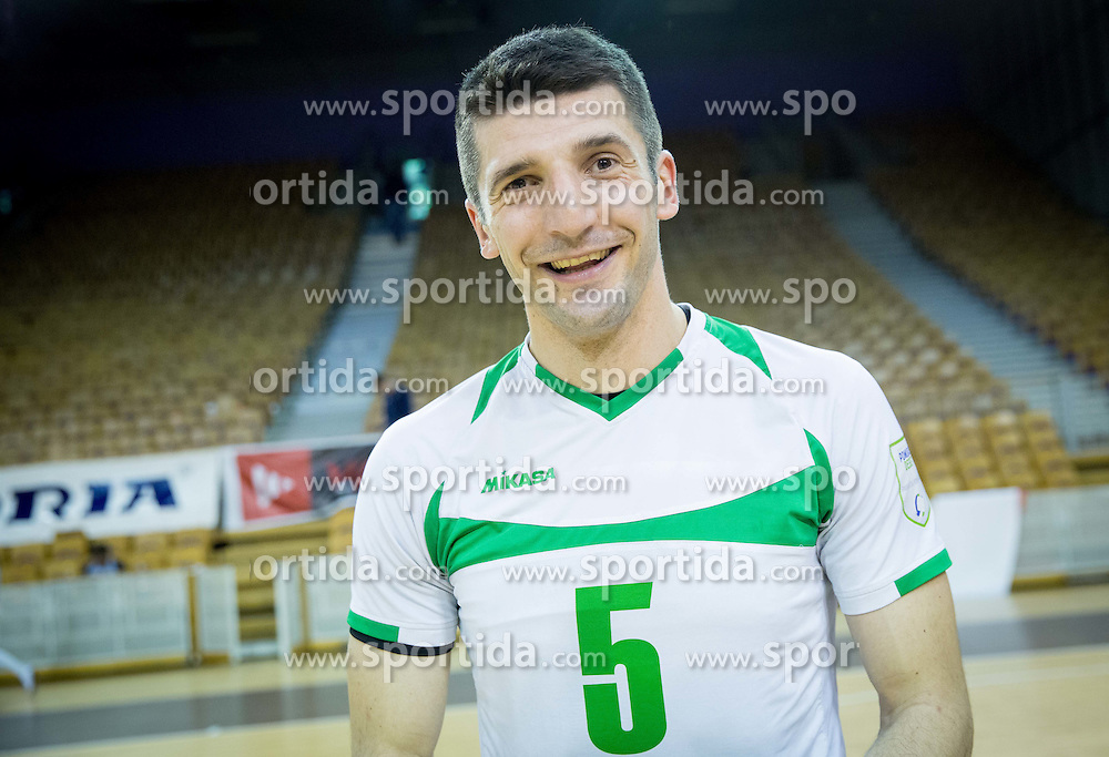 Dejan Pelemis of Panvita Pomgrad celebrates after winning during volleyball game between OK ACH Volley and OK Panvita Pomgrad in 1st final match of Slovenian National Championship 2013/14, on April 6, 2014 in Arena Tivoli, Ljubljana, Slovenia. Photo by Vid Ponikvar / Sportida