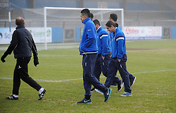Bristol Rovers team check out the pitch - Photo mandatory by-line: Neil Brookman/JMP - Mobile: 07966 386802 - 04/01/2015 - SPORT - football - Nuneaton - James Parnell Stadium - Nuneaton Town v Bristol Rovers - Vanarama Conference