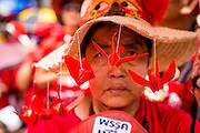 19 MAY 2013 - BANGKOK, THAILAND: A Red Shirt with origami paper birds hanging from her hat during a Red Shirt rally in Ratchaprasong Intersection honoring Red Shirts killed by the Thai army in 2010. More than 85 people, most of them civilians, were killed during the Thai army crackdown against the Red Shirt protesters in April and May 2010. The Red Shirts were protesting against the government of Abhisit Vejjajiva, a member of the opposition who became Prime Minister after Thai courts ruled the Red Shirt supported government was unconstitutional. The protests rocked Bangkok from March 2010 until May 19, 2010 when Thai troops swept through the protest areas arresting hundreds.     PHOTO BY JACK KURTZ
