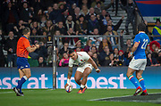 Twickenham, United Kingdom, Saturday, 9th March 2019,  England's,  Manu TUILAGI, touches down, during the Guinness Six Nations match, England vs Italy,  at the RFU Rugby, Stadium,© Peter Spurrier