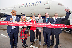Frank Jahangir, Delta's Vice President Sales, piper Loise Marshall, Alan Cumming, Paul Wheelhouse MSP and John Watson, Chief Commercial Officer, as Delta launches their year-round nonstop service from Edinburgh to New York-JFK today at Edinburgh Airport.