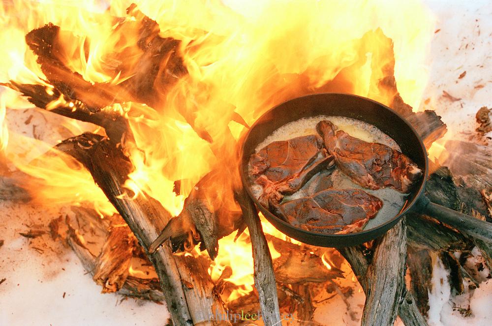 Reindeers steaks cooking on an open fire in Lapland, Sweden