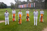 HILVERSUM -  TEAM NETHERLANDS / NEDERLANDELTK Golf  2020 The Dutch Golf Federation (NGF), The European Golf Federation (EGA) and the Hilversumsche Golf Club will organize Team European Championships for men. vlnr  coach Taco Remkes <br /> ,  Bob Geurts, Jerry Ji, Nordin van Tilburg , Maarten Lafeber (coach), Kiet van der Weele COPYRIGHT KOEN SUYK